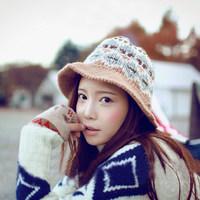 2014 New Fashion Women Bucket Hat Beanie Knitting Hats Autumn Winter Beanies Casual Cap HTZZM-419