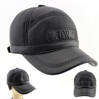 2014 New Arrival Hat Genuine Autumn-winter Leather Hat Baseball Cap Adjustable For Men Black Hats Free Shipping