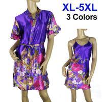 Fashion Sexy Sleepwear Flowers Print Bathrobe Spaghetti Strap Sleepwear 2pcs/set Lingerie For Women Big Size 5xl Free shipping