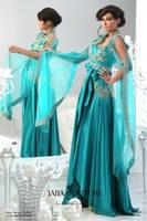 Vintage Green Blue V Neck Abaya Dubai Long Sleeve Arabic Formal Evening Dresses