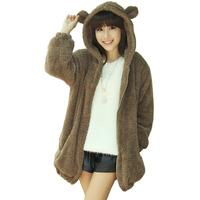 Free Shipping 2014 8 colors cute Bear rabbit ears and tail cartoon coat women fashion fleece hooded sweatshirt