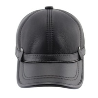 Hot selling 2015 winter hat leather hat warm adjustable sport baseball cap for men Big Size Free Shipping
