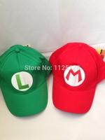 2pcs green L + red M Super Mario baseball hat cap Cosplay Hat super mario hat super mario cap
