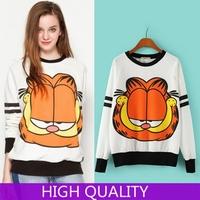 Autumn Winter Sweatshirt Women 2015 Fashion Full Sleeve Garfield Printed Sweatshirt Casual Sweatshirts Women Tracksuit Pullovers