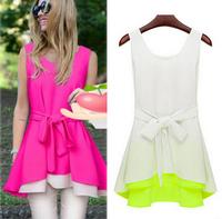 Summer Dress 2014 New Female Fashion Sleeveless Chiffon Dresses High Quality Slim Ruffle Vest Women Dress with Belts