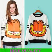 New 2014 3d Sweatshirt Women Hoody Garfield Printed Hoodies Cotton T Shirt Casual Sports Suit Women Printed Sweatshirt Plus Size