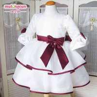 17 2014 wine red bow flower girl dresses for weddings 3/4 sleeve girls pageant dresses prom dress children vestido de daminha