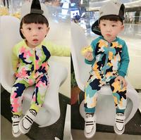 Retail 1 set Children's clothing set spring and autumn 2014 quality fashion Camouflage jacket + jeans 2 pcs AB365