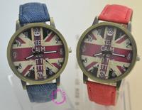 Fashion women laidy man items jean fabric TJA03 Casual Men women quartz watches with uk flag partten Electronic 2014 new watch