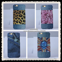 one piece For iphone 6 6G 4.7inch luxury embossing cowboy jeans Denim leopard skull uk flag flower hard case cover