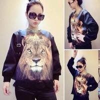 women Sweatshirt 2014 new Unisex lion Head Print Pullover 3d Hoodies Sweatshirts space galaxy Slim Long Sleeve Sweater Tops