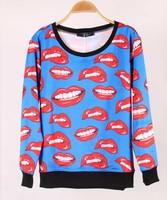 Harajuku Sweatshirt 2014 new Autumn Winter Hoodies 3D Red Lip Loose Hoodies Women Long Sleeve Digital Print Sport Soft Tops