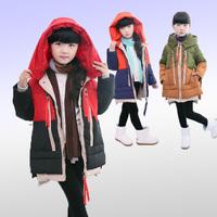 New 2014 Winter Children's Outerwear High Quality Thicken Children's Down Jacket Hooded Leisure Warm Girls Winter Coat 4-13