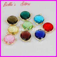 Wholesale 20PCS Mix Color Round Shape Glass Quartz Connectors Gold Edge Faceted Drusy Bezel Quartz Glass Beads Finding 18x20mm