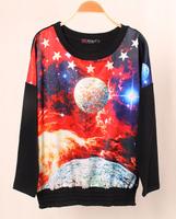 women Sweatshirt 2014 new Autumn Winter 3D Galaxy Sky Print Hoodies Women Long Sleeve Sportswear Soft Tops Sweater