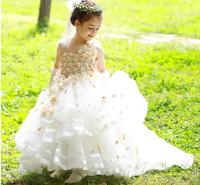 20 2014 princess flower girl dresses for weddings girls pageant dresses train flowers prom dress children custom made