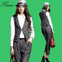 Ladies Business Work Vest Top Pants Set Women Sleeveless Waistcoat Suit Vest Slim Fit Stretch Waist Straigt Suit Pant