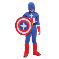 2014 Hot sale high quanlity Retail New Halloween Captain America halloween costumes for kids boys costumes sets  gift 6 sets lot
