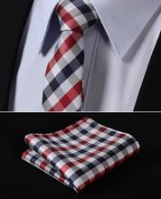 "TC350R5 Red Blue Check 2.17"" 100%Silk Jacquard Woven Slim Skinny Narrow Men Tie Necktie Handkerchief Pocket Square Suit Set(China (Mainland))"
