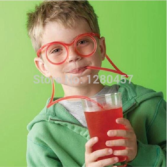 Free Shipping DIY Straw Children's Creative Cartoon Cute Fun Wacky Glasses Straw Toys Household items Drinkware(China (Mainland))