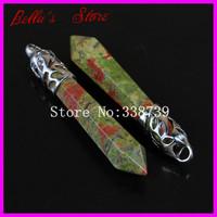 10PCS Natural Unakite Jasper Long Point Pendulum Pendant with Silver Cap,Hexagon Healing Chakra Gems Agate Wand Pendant