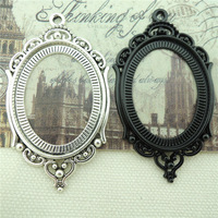 DIY Jewelry Accessories Vintage Style Black Tone Alloy Cameo Cabochon Oval Base Setting 40*30mm Pendant Charms 10PCS