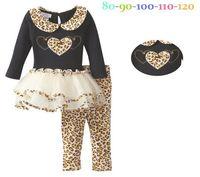 Top OnTop wholesale girls fashion spring suits children leopard print t-shirt love long-sleeve t-shirt+pants kids clothing set
