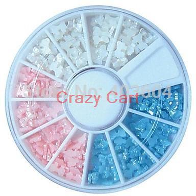 Crazy Cart Three-colour Tiny Bowtie Pearl Wheel Nail Art Decoration Free Shipping 18#(China (Mainland))