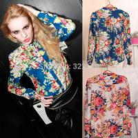 Free Shipping 2014 Womens Tops Fashion Plus Size Blouse Autumn European Vintage Style Printing Long Sleeve Chiffon Shirts