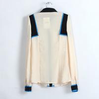 Ms blue stitching hubble-bubble sleeve chiffon shirt