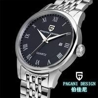 2014 hot The fashion leisure stainless steel men business calendar quartz watch waterproof function free shipping Pagani Design