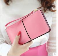 New Arrival 2014 fashion genuine leather wallet women long style cowhide purse women brand clutch purse carteira feminina free