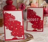 2015Teda CW050China Red  Wishmade Best Sale Laser Cut Wedding Invitation Card