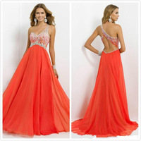 2014 Fascinating  One shoulder Beaded And Stone Prom Dresses Chiffon Backless A-Line Floor Length Evening Gowns