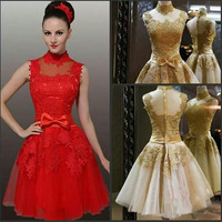 Exquisite High Collar Cap Sleeve Lace And Applique Taffeta Sashes Bows Knee-Length Tulle Bridesmaid Dresses