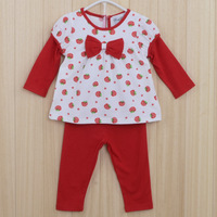 wholesale baby girl Cotton sets Girls fake two long-sleeved Printed strawberry shirt + pants sets clothing 6pcs/lot CT-02