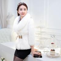 2014 Winter New European Celebrity Lady Luxury Fox Fur Collar Party Coat Women Fashion Patchwork Rabbit Short Office Fur Jacket