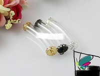 DIY jewelry findings denpants 10mm curved glass rice vial with metal lace ends
