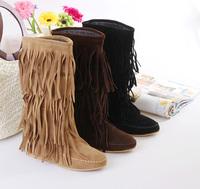 Sweet  women 2014 medium-leg women's snow tassel boots thickening cotton-padded shoes flat heel round toe plus size 35-43