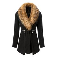 2014 Autumn Winter Woolen Long Coat Womens Overcoat Temperament Slim Trench Desigual femininos Wool & Blends Free Shipping