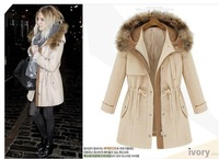 autumn and winter women overcoat  fashionable casual drawstring slim female thickening outerwear
