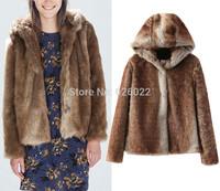 2014 New Fashion Women's Long Hairy Shaggy Faux Fur Long Sleeve Short Slim Hooded Jackets Hoodies Coat Outerwear