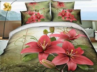 WFP-14-761 bedding sets 4pcs for queen size 3d reactive pink red flowers duvet quilt bed covers 100%cotton bedclothes bedsheets