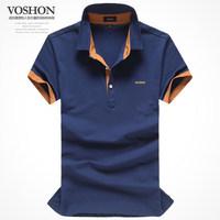 Summer 2014 new men's big code shirt pure cotton print man Lapel short sleeve T-shirt half sleeve male
