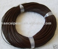 findings round coffee real leather cord 100m 1mmFreeshipping!!!