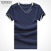 2014 new men's summer men's V collar T-shirt male Korean half sleeve big short code T cotton cultivation