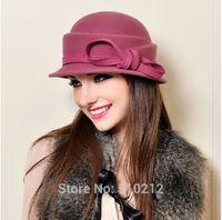 bowknot fashion felt fedoras hat for women fedora hat lady fedora hat for woman autumn winter