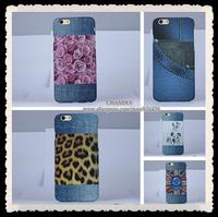 "10pcs  jeans Denim leopard skull Case For iphone 6 6G 4.7"" luxury embossing cowboy uk flag flower hard cover"