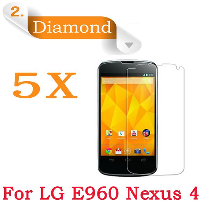 Для LG Google Nexus 4 E960 Алмазный ЖК-Экран Защитный пленка Для LG E960 Screen Protector Фильм 4.7 дюймовый 5 шт./лот Бесплатная доставка премиум закаленное стекло экран протектор для lg google nexus 6 защитная пленка 0 3 мм 2 5d 9 h