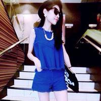 Fashion set Europe station new wholesale summer sleeveless shorts leisure suit a waiting agent 9508
